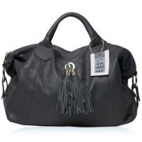 Oh My Bag - Sac à Main Cuir grainé femme - Modèle Chambord gris foncé
