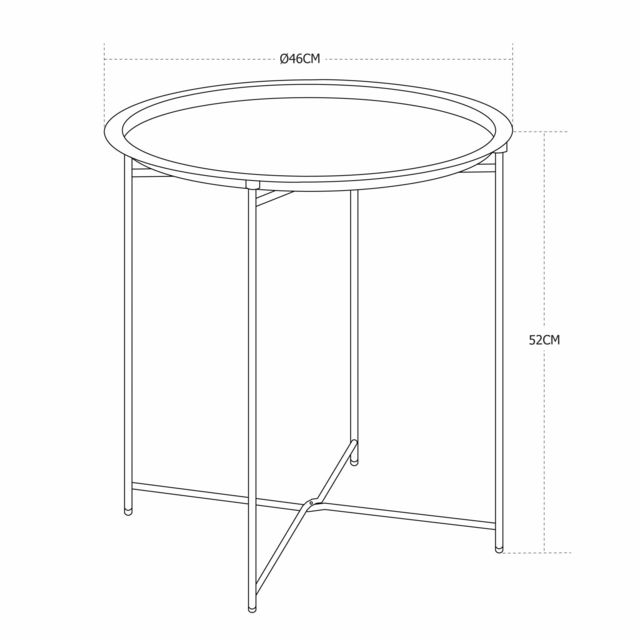ALICE'S GARDEN - Table basse ronde – Alexia bleu grisé – Table d'appoint ronde Ø46cm, acier thermolaqué