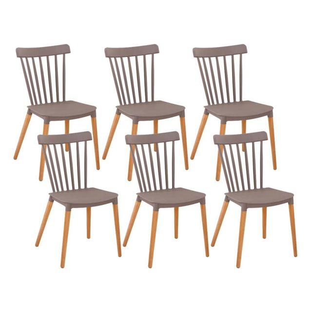 Zons - chaise salle a manger lot de 6 chaises Pp Taupe 42,6x42x44 ...