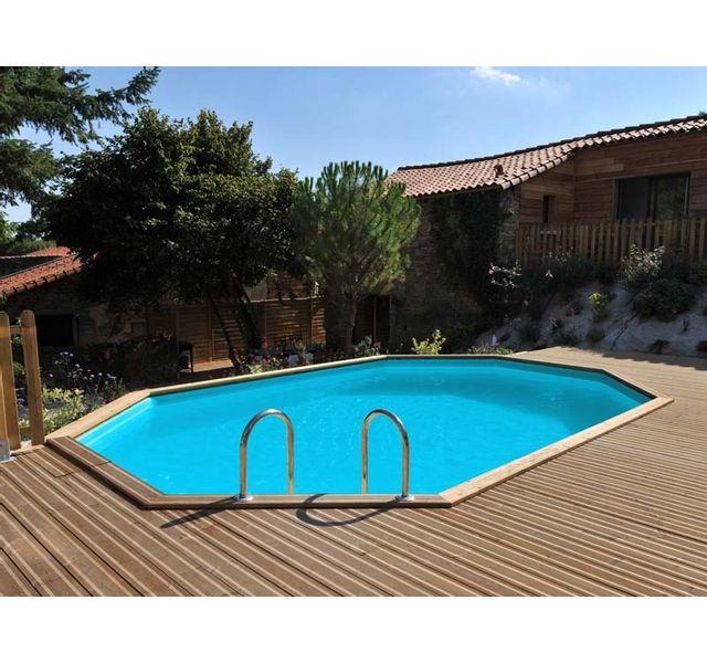 sunbay piscine bois bogota 5 85 m x 4 10 m x h 1 19 m couleur liner bleu pas cher achat. Black Bedroom Furniture Sets. Home Design Ideas