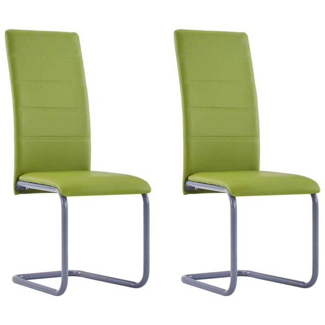 Admirable Fauteuils et chaises reference Kaboul Chaises de salle à manger 2 pcs Vert Similicuir