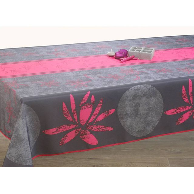 le linge de jules nappe anti taches lotus fuchsia. Black Bedroom Furniture Sets. Home Design Ideas