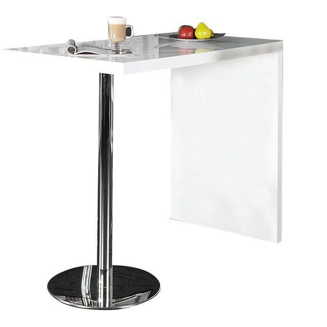 Comforium Table bar blanche design bois et métal