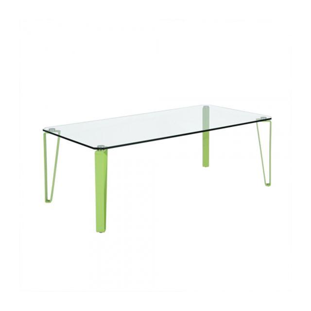 Calicosy Table basse rectangulaire en verre et métal coloré