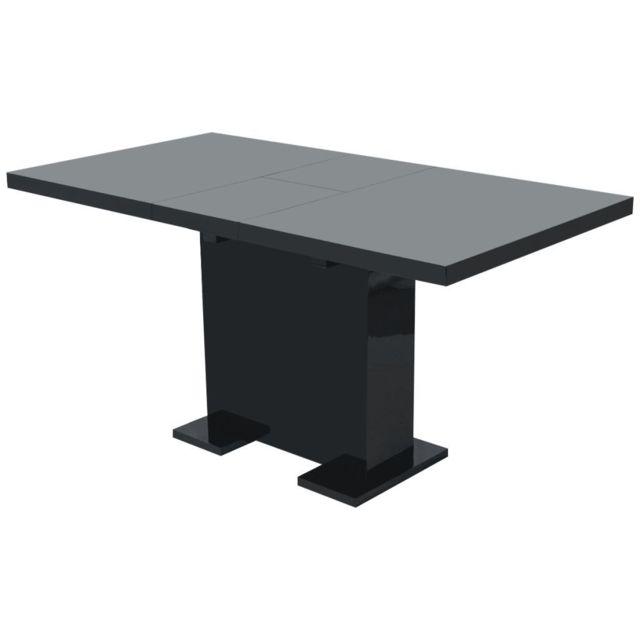 Vidaxl Table Extensible de Salle à Manger Cuisine Table à Manger Noir Brillant