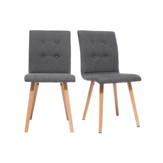 miliboo chaise design gris fonc et bois lot de 2 horta - Chaise Moderne Pas Cher