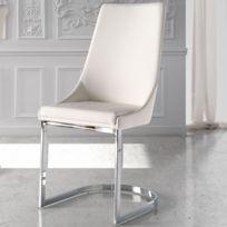 tousmesmeubles chaise simili cuir blanc tabal - Chaise Cuir Blanc