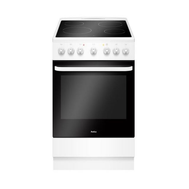 AMICA cuisinière vitrocéramique 65l 4 feux blanc - acv603b