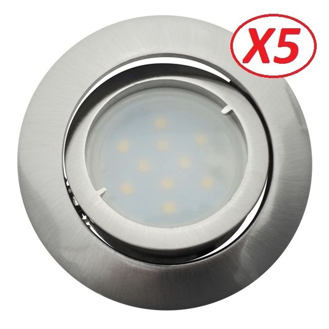 Eurobryte Lot de 5 Spot Led Encastrable Complete Satin Orientable lumière Blanc Neutre eq. 50W ref.895