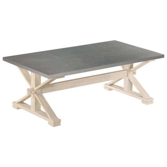 Vidaxl Bois de Manguier Table Basse avec Dessus en Zinc Table de Salon Séjour
