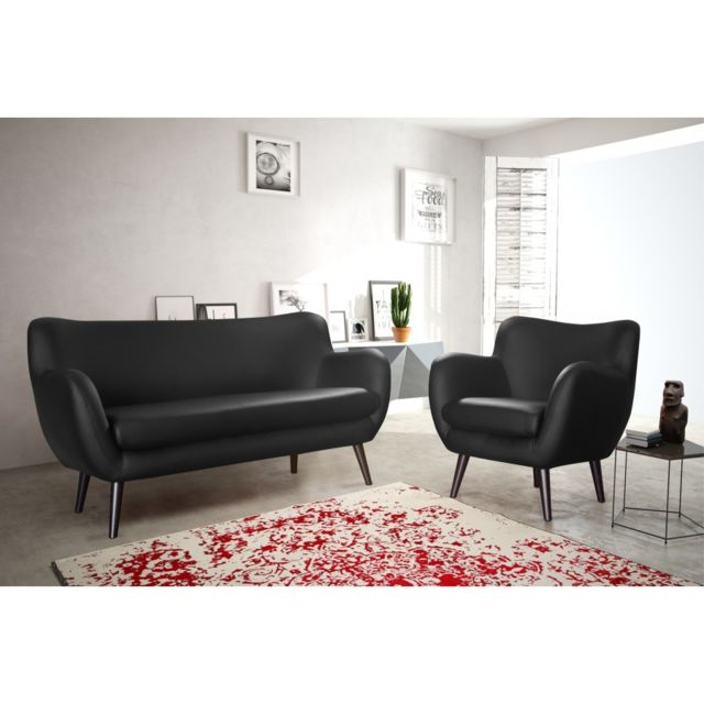 modern sofa canap adele 3 places noir simili cuir achat. Black Bedroom Furniture Sets. Home Design Ideas