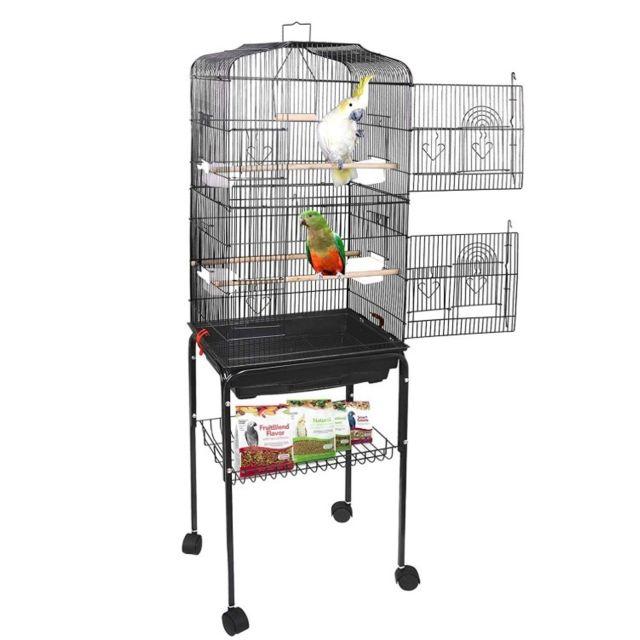 Jeobest Grande Cage Volière pour Oiseaux, Cage à Roulettes avec 4 mangeoires, 3 perchoirs, H - 150,6cm