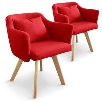 MENZZO - Lot de 2 fauteuils scandinaves Dantes Tissu Rouge