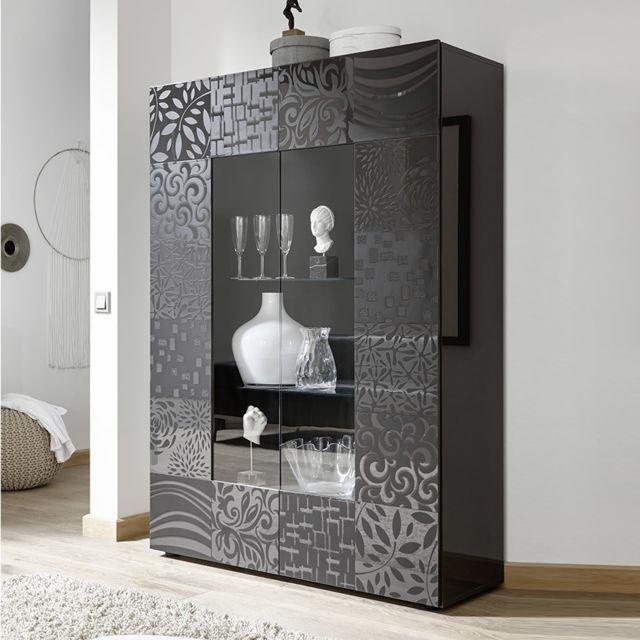 Kasalinea Vaisselier design gris laqué Nerina 2