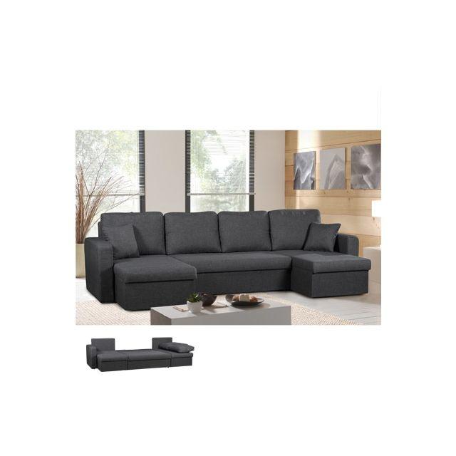 Canapé d'angle panoramique convertible noir Savane