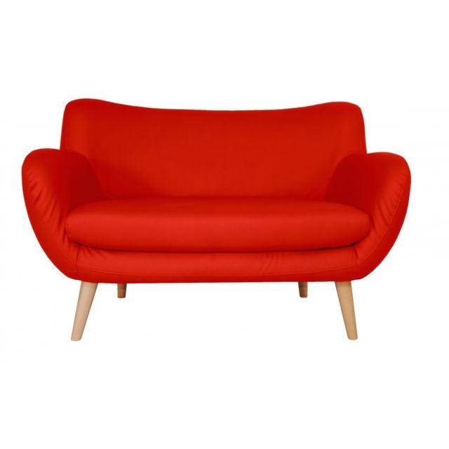Rocambolesk Canapé Adele 2 Pu soft 10 rouge avec pieds naturels sofa divan