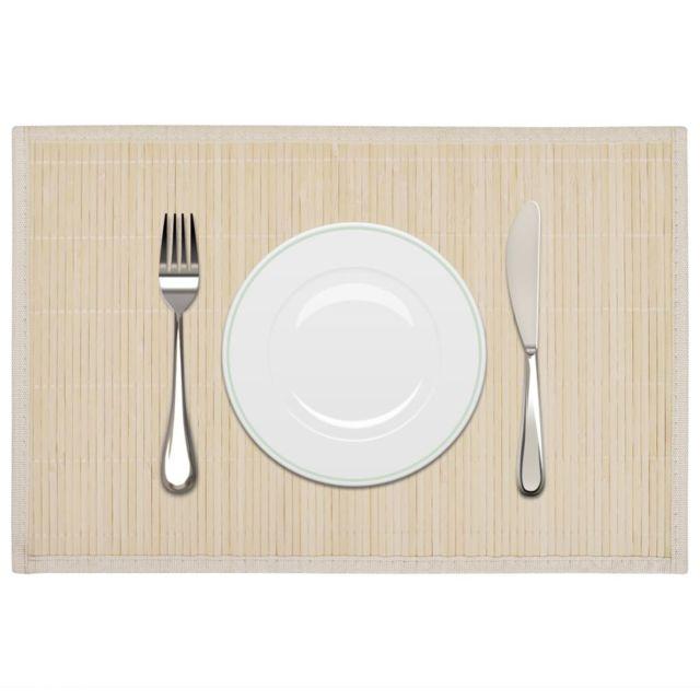 Admirable Linge de table categorie Bangui 6 Napperons en bambou 30 x 45 cm Nature