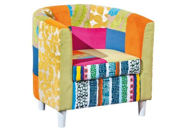 declikdeco fauteuil cabriolet patchwork multicolore benito pas cher achat vente fauteuils. Black Bedroom Furniture Sets. Home Design Ideas