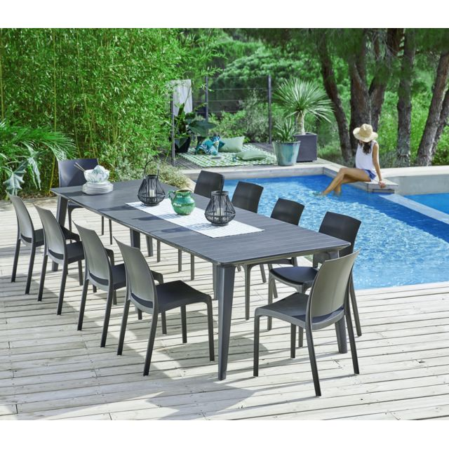 ALLIBERT - Table de jardin rectangulaire Lima extensible - Graphite ...