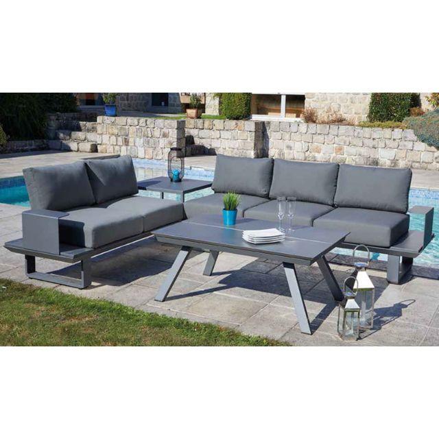 Salon de jardin 5 places en aluminium avec 1 table, coloris gris anthracite