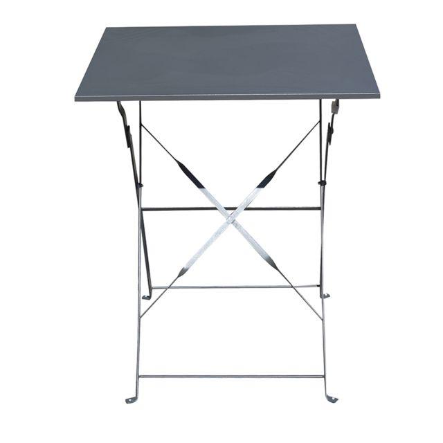 PEGANE - Table de jardin pliante carrée coloris Gris - Dim : 60 x 60 ...