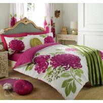 Just Contempo - Parure De Lit RÉVERSIBLE En Coton MÉLANGÉ Motif Floral, Couette Taille Super King Size, Blanc & Rose Fuchsia Ver