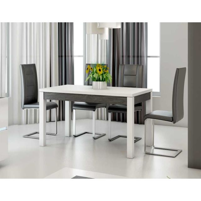 Kasalinea Table à manger blanc laqué et ardoise design Julia - L 160 cm