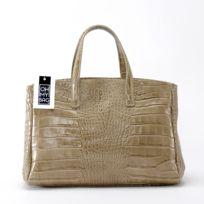 Oh My Bag - Sac à Main femme cuir Façon Croco - Modèle Be Lady taupe clair
