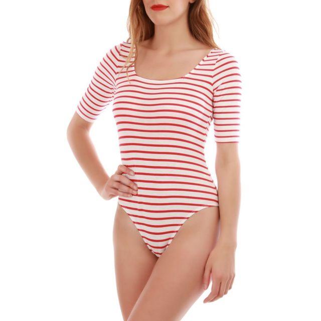 Lamodeuse - Body rouge à rayures L - pas cher Achat   Vente Polo femme -  RueDuCommerce e9c813dd399