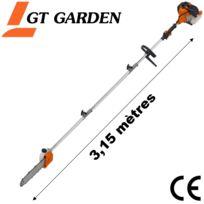 GT GARDEN - Élagueuse thermique sur perche, 52 cm3, 3 CV, longueur 3.15 mètres