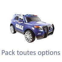 Voiture Electrique - Voiture 4x4 véhicule électrique enfant 12 volts police bleu pack luxe