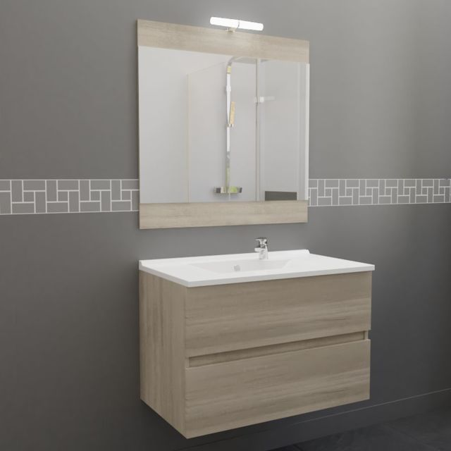 Meuble salle de bain simple vasque ROSALY 80 - Cambrian oak