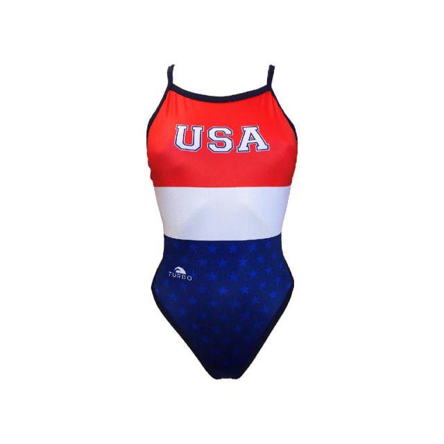 forme élégante nouveau sommet Royaume-Uni disponibilité Maillot de bain de natation Usa Girl rouge blanc bleu femme