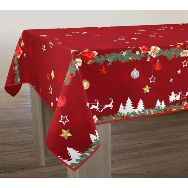 le linge de jules nappe anti taches no l rouge taille ronde diam tre 180 cm pas cher. Black Bedroom Furniture Sets. Home Design Ideas