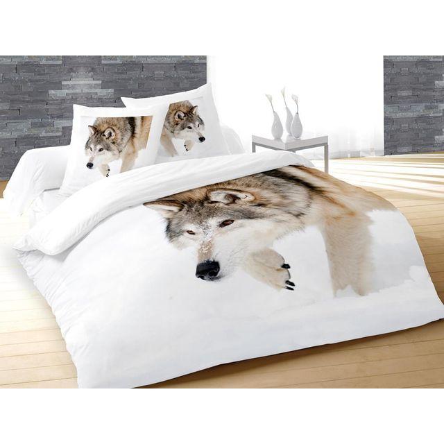 soleil d 39 ocre parure housse de couette 3d dessin plac 260x240 cm wolf 100 coton 57 fils cm2. Black Bedroom Furniture Sets. Home Design Ideas
