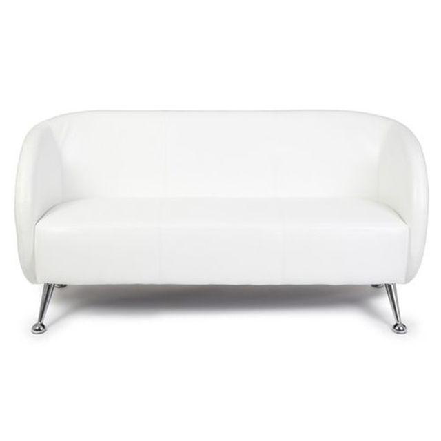 Hjh Office Canapé lounge / canapé club St. Lucia simili cuir 3 places blanc