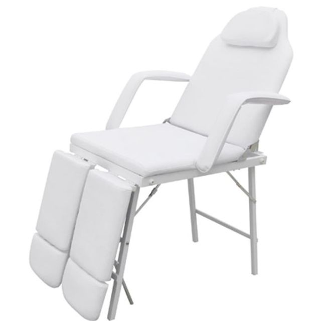Icaverne - Fauteuils de massage collection Fauteuil de podologie blanc crème inclinable et pliant