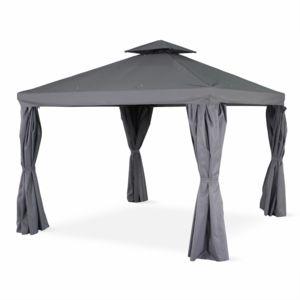 alice 39 s garden tente de jardin pergola aluminium 3x3m divodorum gris avec rideaux coulissant. Black Bedroom Furniture Sets. Home Design Ideas