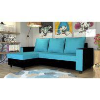 Canapé d'angle convertible en microfibre Agate - Réversible - turquoise