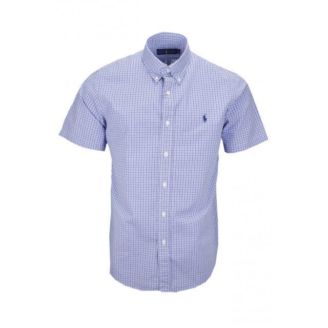 5d32be683fe963 Ralph Lauren - Chemise manches courtes Ralph Lauren à carreaux bleu pour  homme