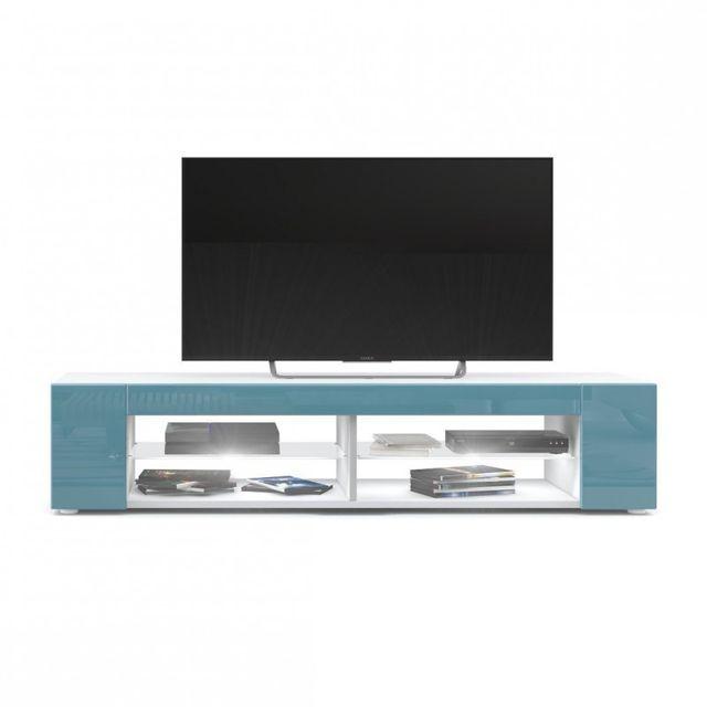 Mpc Meuble Tv blanc mat Façades en turquoise laquées led Blanc
