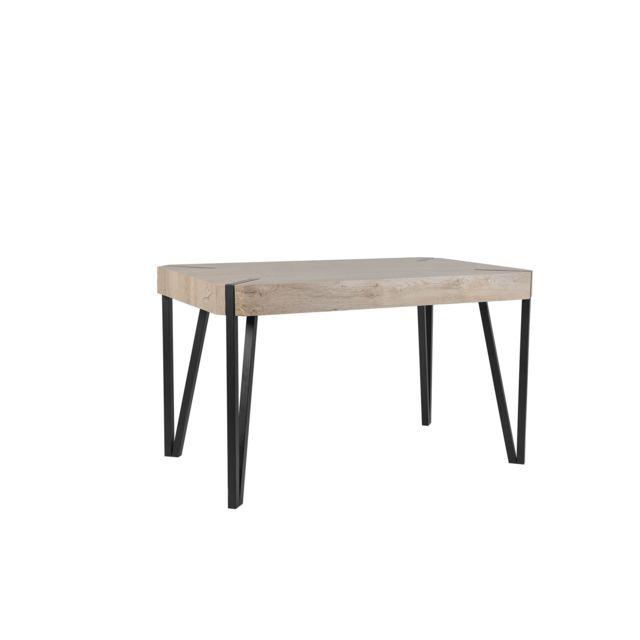 BELIANI Table bois taupe/noir 130x80 cm CAMBELL - marron
