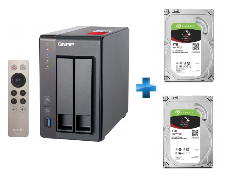 NAS - TS-251+ + Disque dur interne IronWolf 4 To 3.5'' 5900 TR/min 64 Mo Serial ATA 6 Gb/s pour NAS + Disque dur interne IronWolf 4 To 3.5'' 5900 TR/min 64 Mo Serial ATA 6 Gb/s pour NAS