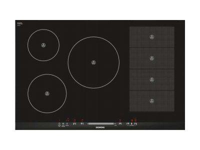 SIEMENS table de cuisson à induction 80cm 5 feux 7200w flexinduction noir - eh875mp17f