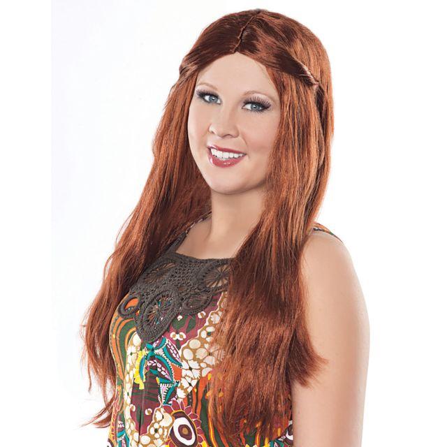 Sans - Perruque longue hippie rousse femme