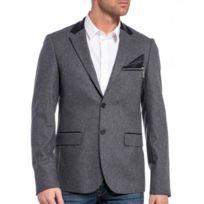 Cent's - Veste en laine de costume grise au col noir