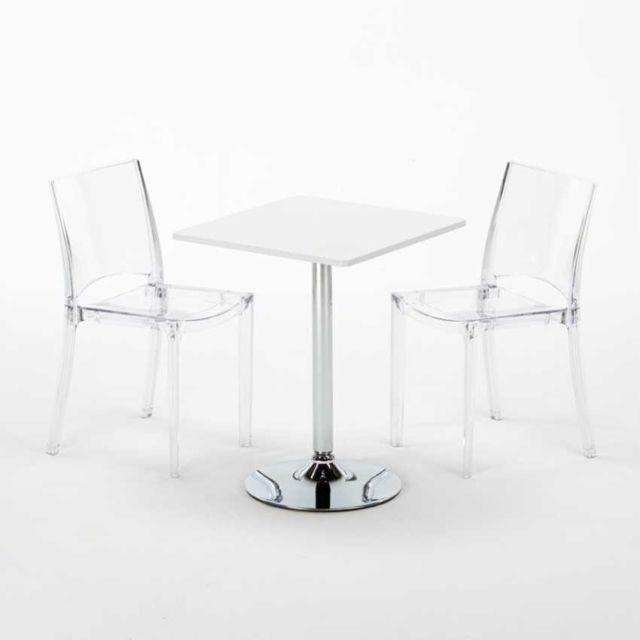 Grand Soleil Table carré et Ronde avec 2 chaises colo