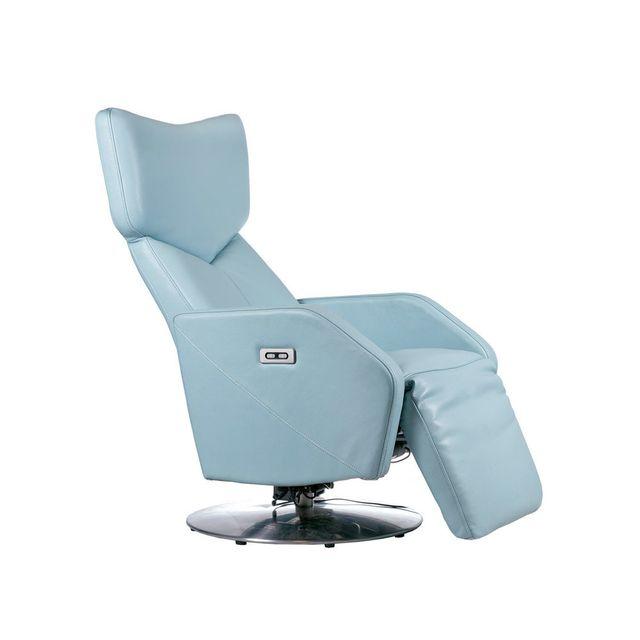 axe design fauteuil de relaxation lectrique et pivotant en cuir dresde bleu pas cher. Black Bedroom Furniture Sets. Home Design Ideas