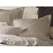 Soleil D'OCRE - Taie d'oreiller brodée en coton percale 65x65 cm Leopoldine
