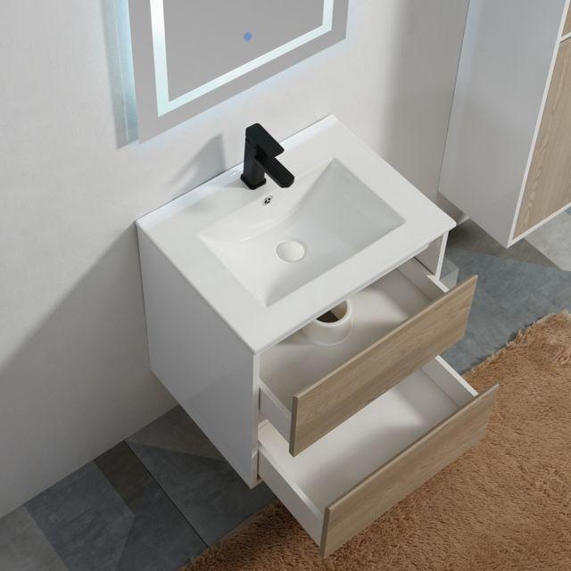 Rue du bain meuble de salle de bain 2 tiroirs vasque et miroir led bois 60x46 cm jade - Meuble salle de bain rue du commerce ...